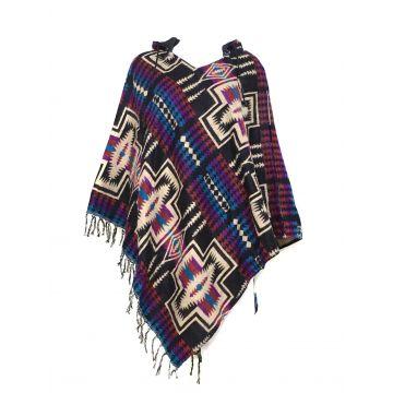 Poncho Taille Ample Motif Aztèque