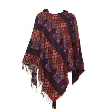 Poncho Cardigan Jacquard Taille Ample