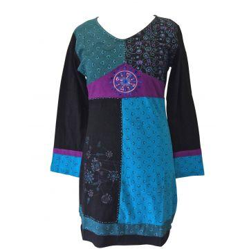 Tunique Garuda Maille Jersey Ton Bleu et Imprimé