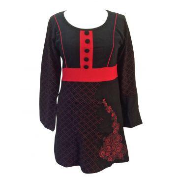 Tunique Sonama Jersey Noir et Rouge
