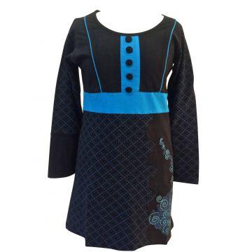 TUNIQUE ETHNIQUE  JERSEY EV15-14 noir et turquoise