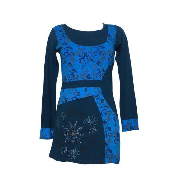 Tunique Femme Neta Coton Jersey Ton Bleu