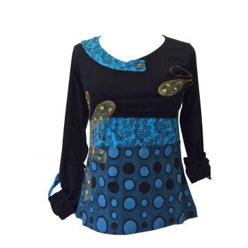 T-Shirt Femme Coton Fluide Imprimé Graphique Bleu