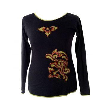 T-Shirt Lumbini Noir brodé Devant.