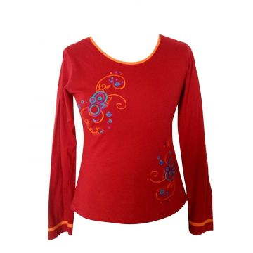 T-Shirt Jersey fines broderies Rouge