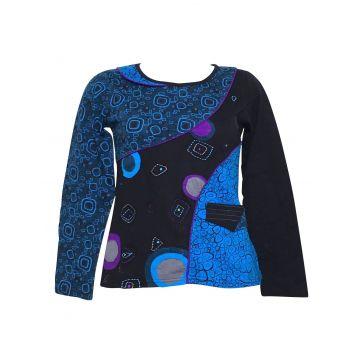 T-Shirt Ethnique Femme Boroa Imprimé Bleu