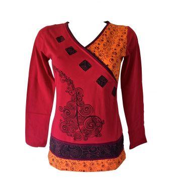 T-Shirt Femme Coton Fluide Imprimé Graphique Rouge