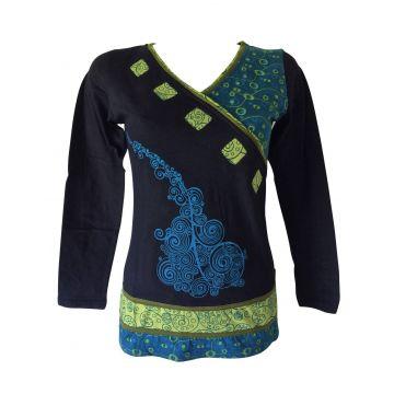 T-Shirt Senduria Ethnique bleu Pétrole