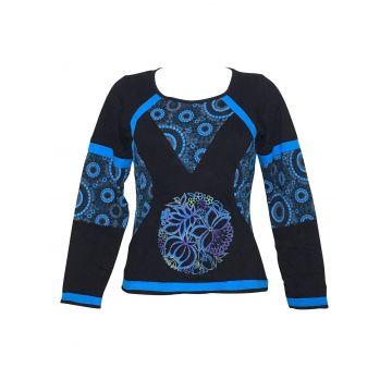 Top Femme Majuly Mandalas Ethnique Bleu