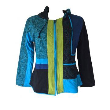Veste Tika Mandalas Polaire et Jersey Bleu