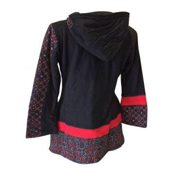 Manteau Dakara Imprimé Ethnique Rouge
