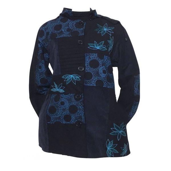 Manteau Betiny Col Imperial Noir et Bleu Canard