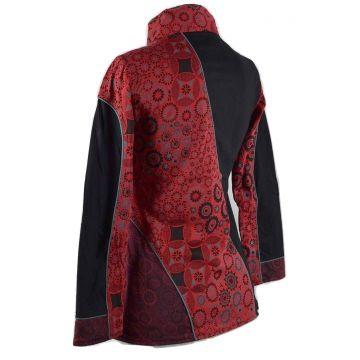 Veste Ethnique Femme Arbani col Impérial Noir et Rouge imprimé