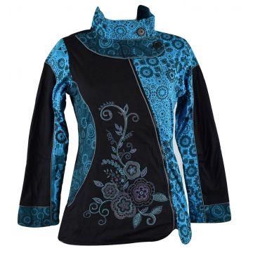 Veste Ethnique Femme Arbani col Impérial Turquoise imprimé