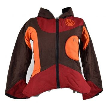 VESTE ETHNIQUE CAPUCHE LUTIN CHOCOLAT ORANGE ROUGE