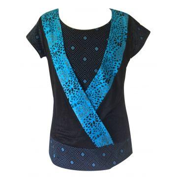 T-Shirt Raghia Jersey Fluide Imprimé Turquoise