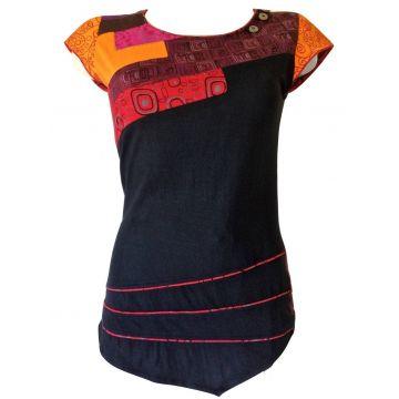 T-Shirt Naya Patchwork Jersey Imprimé Graphique Rouge