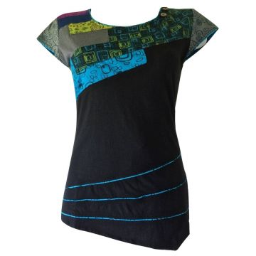 T-Shirt Naya Patchwork Jersey Imprimé Graphique Bleu