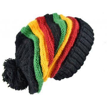 Bonnet Long Mauja Unisexe Laine Pompon Rasta Colors