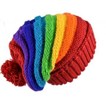 Bonnet Long Mauji Unisexe Laine Pompon Rainbow Colors