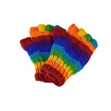 Gants Mitaines Gundu Laine Tricotée Rainbow doublé polaire