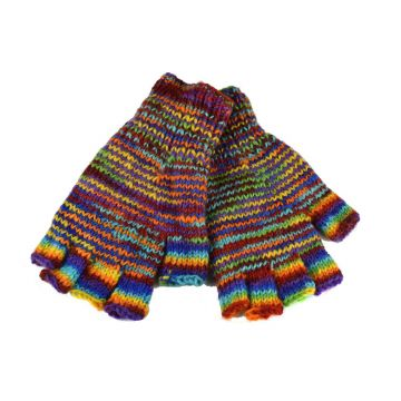 Mitaines Gundu Laine Tricotée Multicolore Point ZigZag