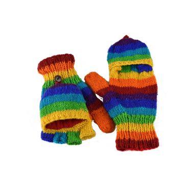 Moufle Mitaine Laine Tricotée Rainbow doublé polaire