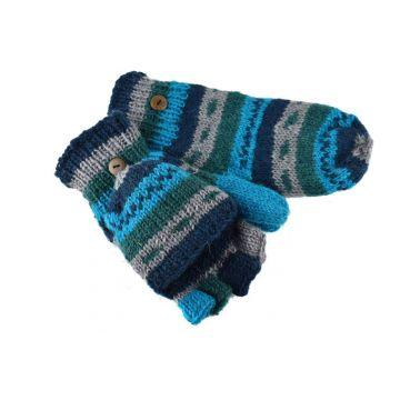 Moufle Mitaine Laine Tricotée Bleu 3 Tons doublé polaire