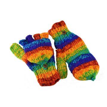 Moufle Mitaine Laine Tricotée Chiné Rainbow Gant 2 en 1