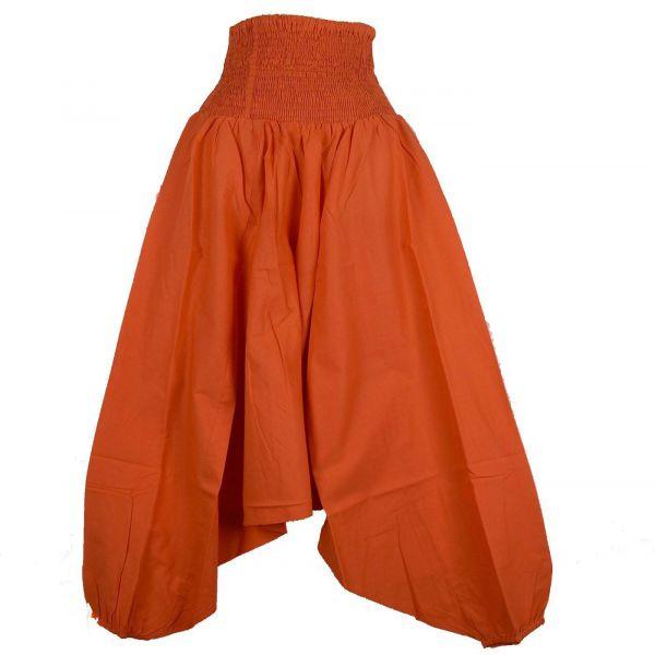 Sarouel Smocks Femme Coton Uni Orange