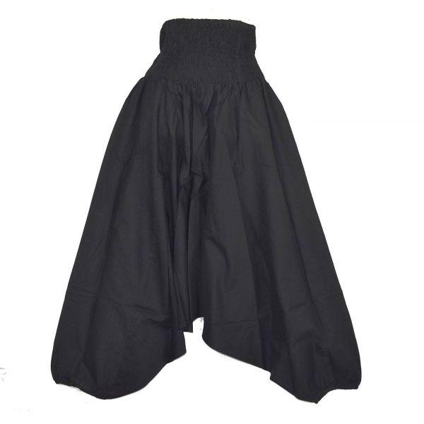 Sarouel Smocks Femme Coton Uni Noir