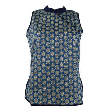 Manora Haut Femme Coton Imprimé Domka Bleu