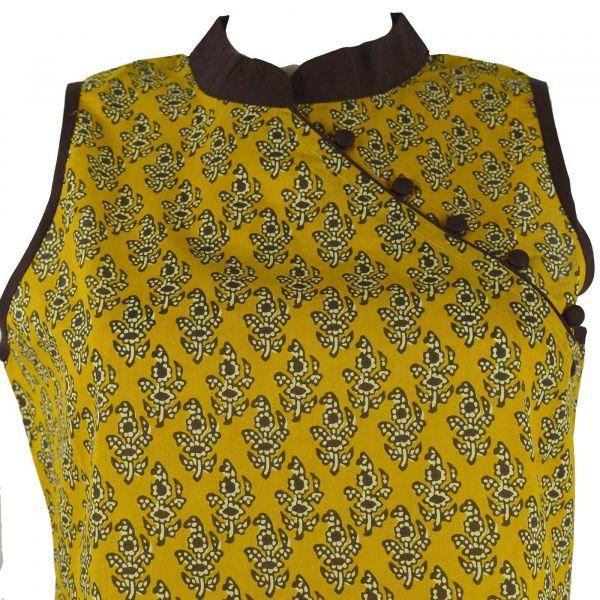 f1ec84cb4d4 Manora Haut Femme Coton Imprimé Nasik Moutarde