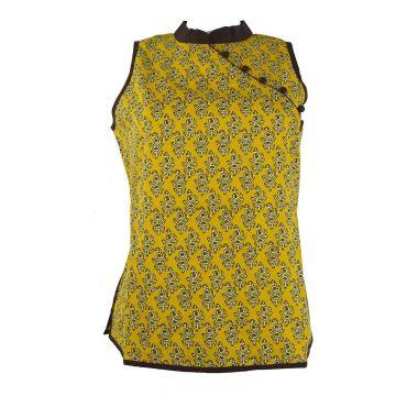 Manora Haut Femme Coton Imprimé Domka Moutarde