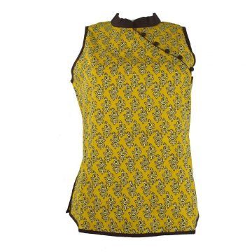 Manora Haut Femme Coton Imprimé Nasik Moutarde