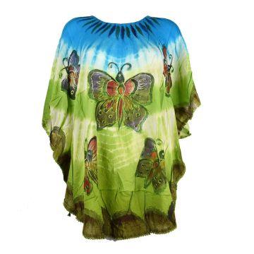 Blouse Poncho Cinq Papillons JK-1972 bleu et vert