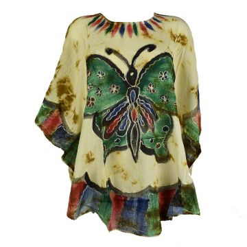 Blouse Tie Dye Grand Papillon Peint JK-1982 moutarde