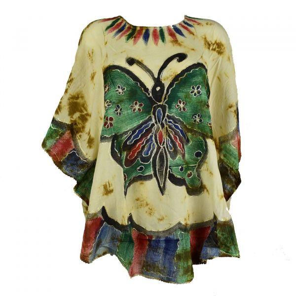 Blouse Tie Dye Grand Papillon Peint JK-1982 moutarde
