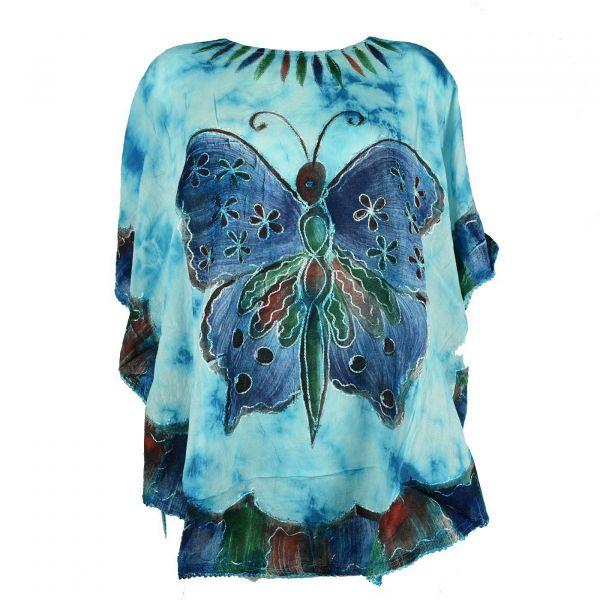 Blouse Tie Dye Grand Papillon Peint JK-1982 Turquoise