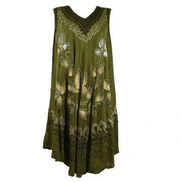 Robe Subai Peint Gold et Silver Motif Floral JK-204 Vert