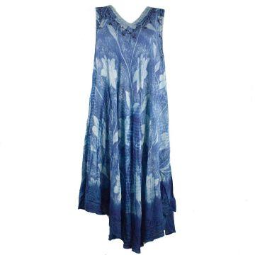Robe Grande Taille Tandur Tie Dye JK-811 Bleu
