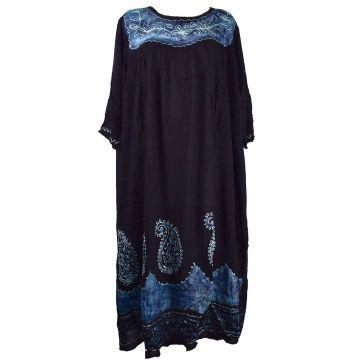 Robe Longue Allipur JK-2195 noir Batik Bleu