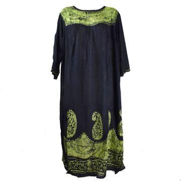 Robe Longue Allipur JK-2195 Noir Batik Vert