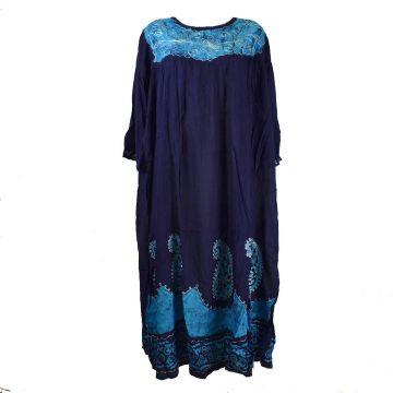 Robe Longue Allipur JK-2195 Bleu Marine Batik Turquoise