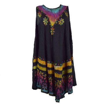 Robe Grande Taille Velgi Noir et Batik BT-501/B