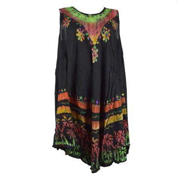 Robe Grande Taille Velgi Noir et Batik BT-501/D