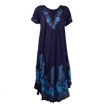 Robe Longue Namba Bleu et Batik Turquoise BT-1222