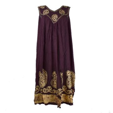 Robe Longue Hingoli Bordeaux et Batik Ocre BT-1802