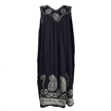 Robe Longue Hingoli Noir et Batik Ecru BT-1802