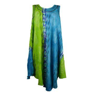 Robe Karanja Deux Tons Turquoise et Anis JK-1314